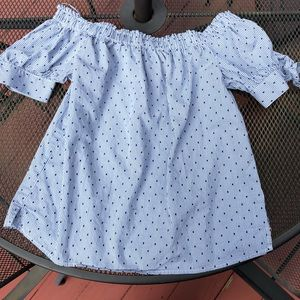 Cece gingham off shoulder top size sm bow tie arms